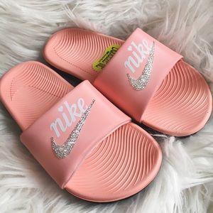 Nike kawa girls slide sandals w/ rhinestones
